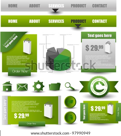 navigation pack with web elements - stock vector