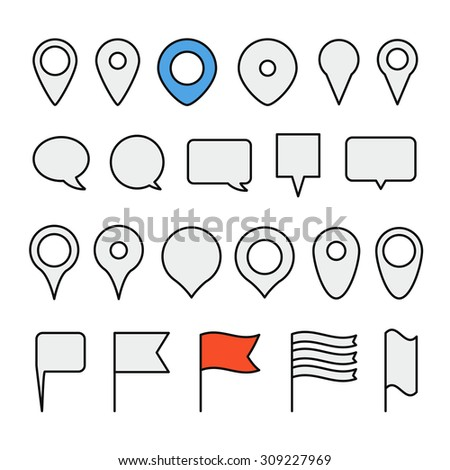 Navigation pins collection. Minimalism illustration - stock vector