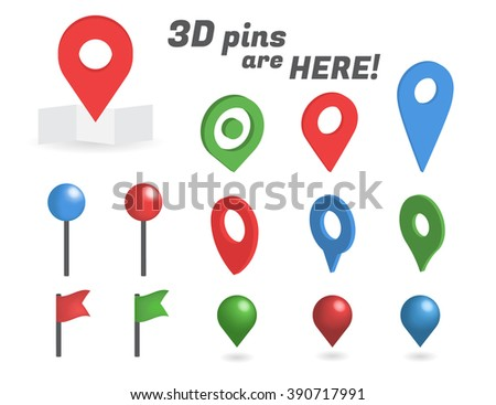 Navigation pins 3d isometric collection. Realistic pins and positioning flags isolated on white background - stock vector