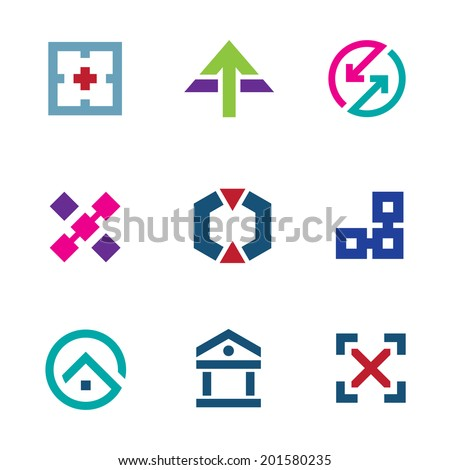 Navigation positioning menu bar startup logo business flexible icon set - stock vector