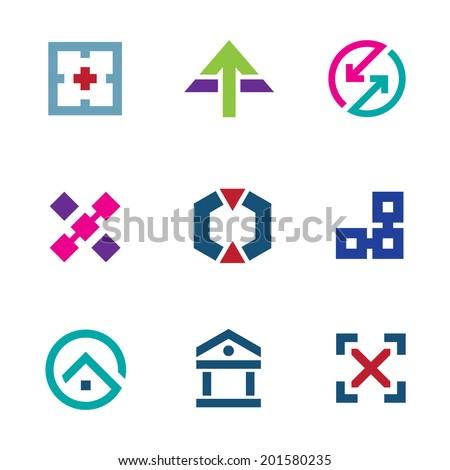 Navigation positioning menu bar startup logo business flexible icon set - stock vector