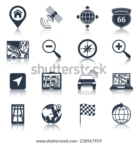 Navigation road traffic city drive icons black set isolated vector illustration - stock vector
