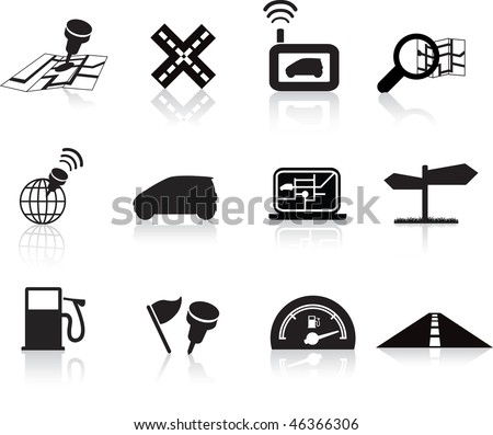 navigation road travel collection of icons silhouette  set - stock vector