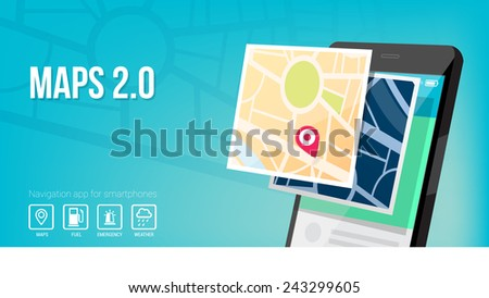Navigation system and maps app for smartphone and mobile banner - stock vector