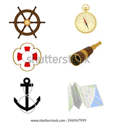 Navigation vector icon set- wheel anchor compass spyglass lifebuoy map - stock vector