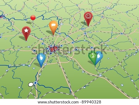 Navigational Map with Icons - stock vector