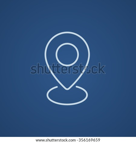 Navigator guide itinerary line icon for web, mobile and infographics. Vector light blue icon isolated on blue background. - stock vector