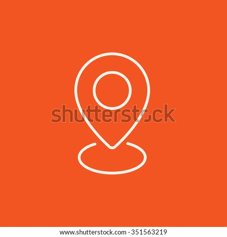Navigator guide itinerary line icon for web, mobile and infographics. Vector white icon isolated on red background. - stock vector