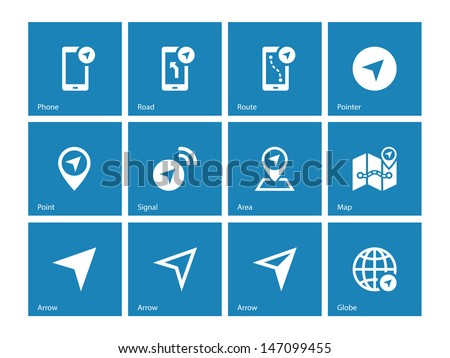 Navigator icons on blue background. Vector illustration. - stock vector