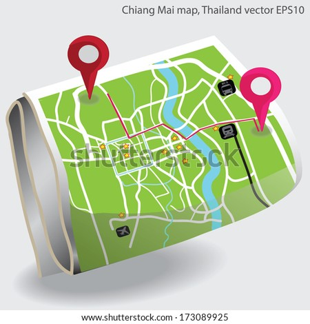 navigator on map vector - stock vector