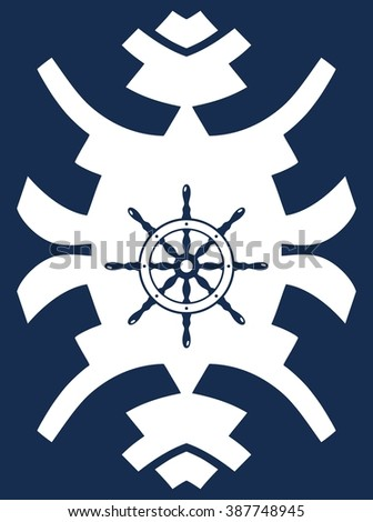 Navy blue and white hipster ornament with rudder. Ship steering wheel. Helm wheel.  - stock vector
