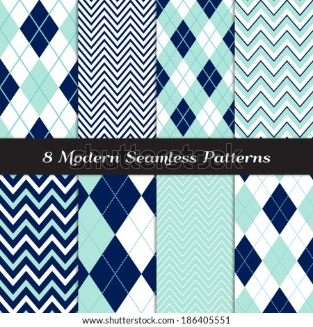 Navy Blue, Aqua and White with Dashed Accent Lines Argyle and Chevron Seamless Patterns. Navy and Aqua Nautical or Golf Backgrounds. Pattern Swatches included and made with Global Colors.  - stock vector