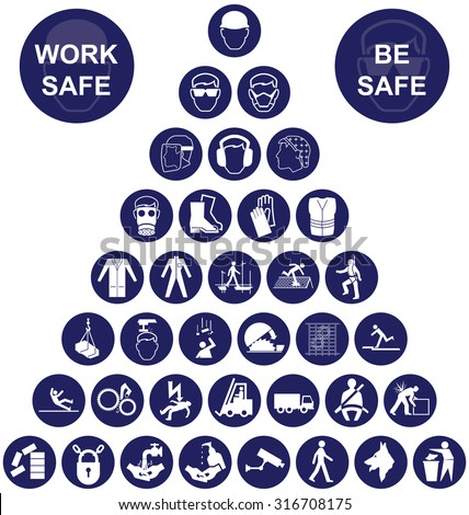 Navy blue construction manufacturing and engineering health and safety related pyramid icon collection isolated on white background with work safe message