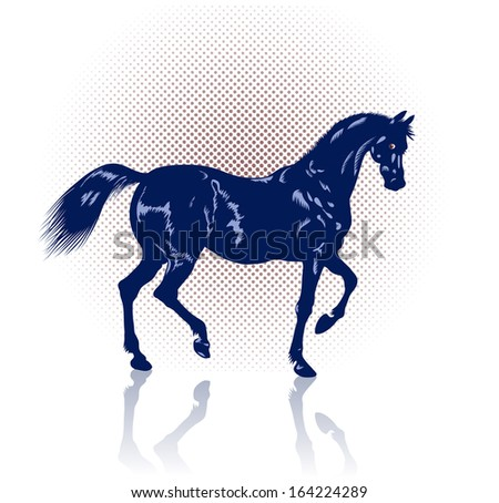 Navy-blue fine steed prances on slender strong legs.