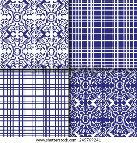 Navy blue graphic seamless patterns set, trendy geometric background, hand drawn vector tribal ornament collection - stock vector