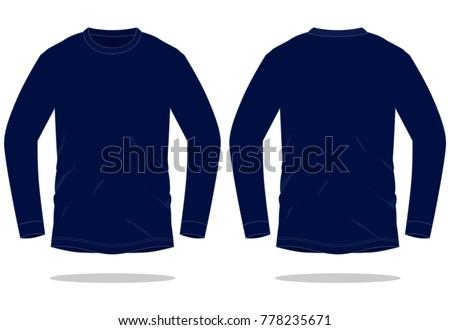 Navy Blue Long Sleeve T Shirt Stock Vector (Royalty Free) 778235671 ...