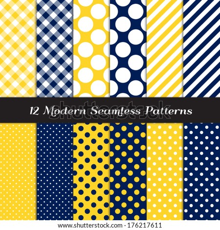 Navy Blue, Yellow and White Jumbo Polka Dots, Gingham and Stripes Seamless Patterns. Navy Yellow Nautical Backgrounds. Pattern Swatches included and made with Global Colors. - stock vector