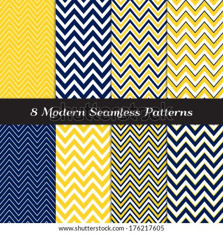 Navy Blue, Yellow and White Thick and Thin Chevron Seamless Patterns. Navy Yellow Nautical Backgrounds. Pattern Swatches included and made with Global Colors. - stock vector