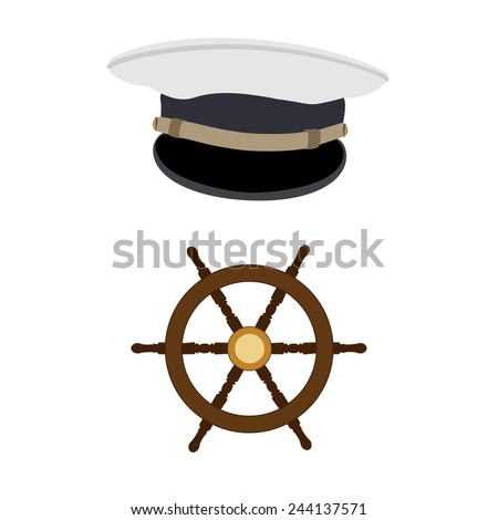 Navy captain hat and wooden wheel vector icon set  - stock vector
