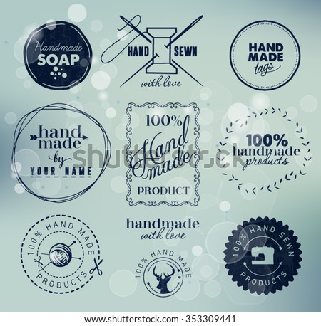 Navy Colored Hand Made Labels Badges on Blue Bubbly Background - stock vector