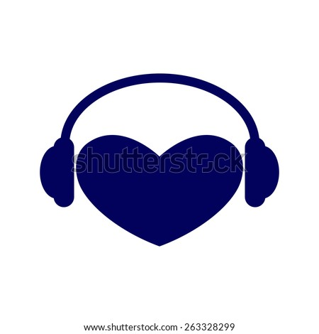 Navy colored heart with headphones on it isolated on white background. Music fan concept. Logo template, design element - stock vector