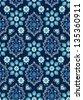 navy floral bandana vector ~ seamless background - stock vector