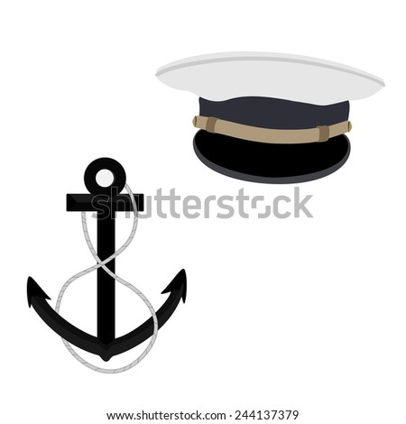 Navy, nautical vector icon set, captain hat and black anchor - stock vector