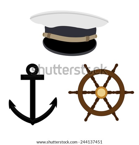 Navy, nautical vector icon set, captain hat, wheel and black anchor - stock vector