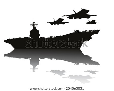 Navy power.  Aircraft carrier and flying aircrafts. Vector silhouettes.  - stock vector