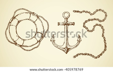 Navy schooner steel armature, sos life preserver ring, heavy bond hard isolated on white background. Freehand outline ink hand drawn picture sign sketchy in art scribble retro style and space for text - stock vector