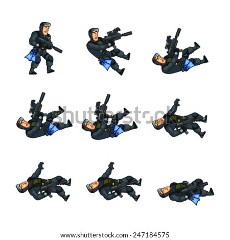 Navy Seal Dying Sprite - stock vector