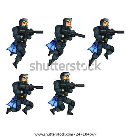 Navy Seal Jumping Sprite - stock vector