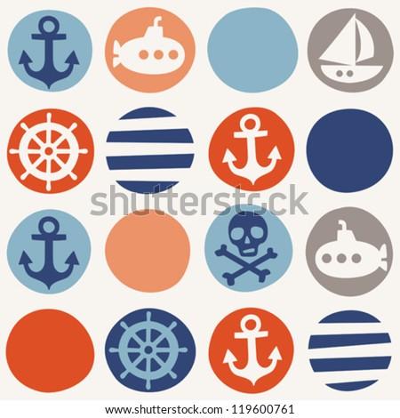 Navy seamless pattern - stock vector