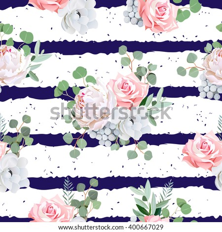 Navy striped print with bouquets of rose, peony, anemone, brunia flowers and eucaliptis leaves. Seamless vector pattern with speckled backdrop.  - stock vector