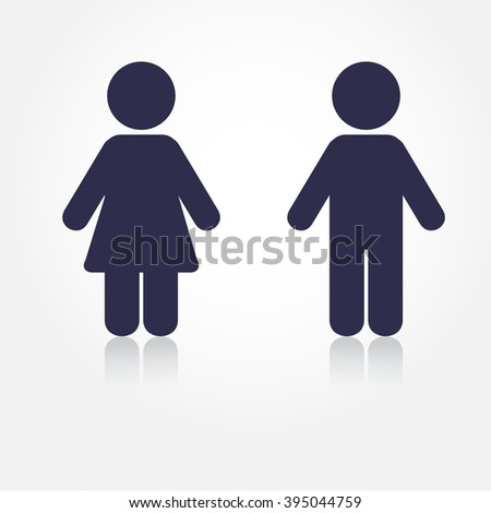 Navy vector man and woman icons with shadows. Illustration for print and web. WC icon. Toilet sign.