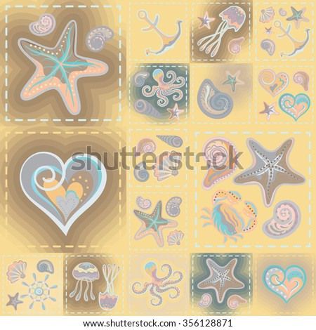 Navy vector seamless pattern. Waves, crab, wheel, anchor, star, heart