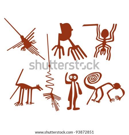 Nazca Lines Set - Vector illustration - stock vector