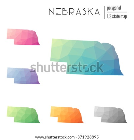 Nebraska state map in geometric polygonal style. Set of Nebraska state maps filled with abstract mosaic, modern design background. Multicolored state map in low poly style - stock vector