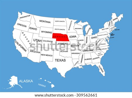 Nebraska State, USA, vector map isolated on United states map. Editable blank vector map of USA.