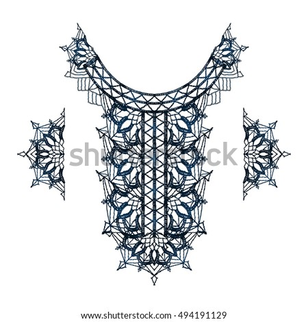 Neck decoration, necklace, isolated crocheted lace border with an openwork pattern. Vector illustration. T-shirt