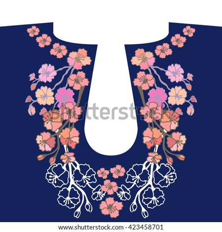 Neck embroidery design. Hand drawn floral vector patterns. Folk art textile collection. Cherry flowers garland. - stock vector