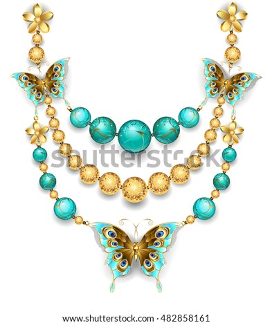 necklace of gold butterflies, gold and turquoise beads on a white background. Design jewelry.