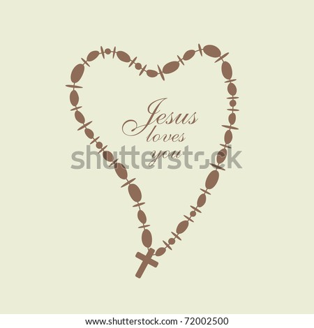 necklace with beads and Christian Cross in a heart shape, vector - stock vector