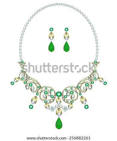 Necklace with diamonds and emeralds and earrings - stock vector