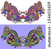 Neckline embroidery fashion - stock