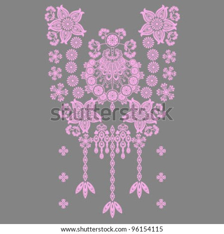 Neckline Paisley Decoration - stock vector