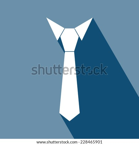 Necktie Icon. Vector illustration. Elements for design. Necktie Iconl Icon on darkblue background. icon flat necktie, isolated, shaded, darkblue & white color.