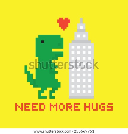 Need more hugs T-rex and  skyscraper vector card - stock vector