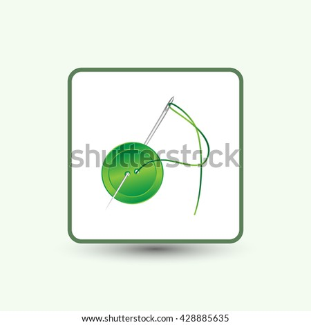 needle and button, vector, icon