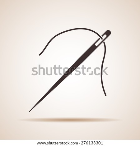 needle and thread icon - stock vector
